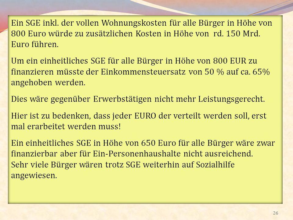 26 Ein SGE inkl. der vollen Wohnungskosten für alle Bürger in Höhe von 800 Euro würde zu zusätzlichen Kosten in Höhe von rd. 150 Mrd. Euro führen. Um