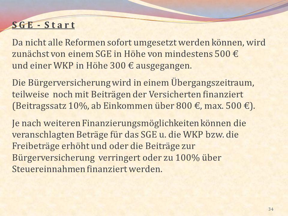 34 S G E - S t a r t Da nicht alle Reformen sofort umgesetzt werden können, wird zunächst von einem SGE in Höhe von mindestens 500 und einer WKP in Hö