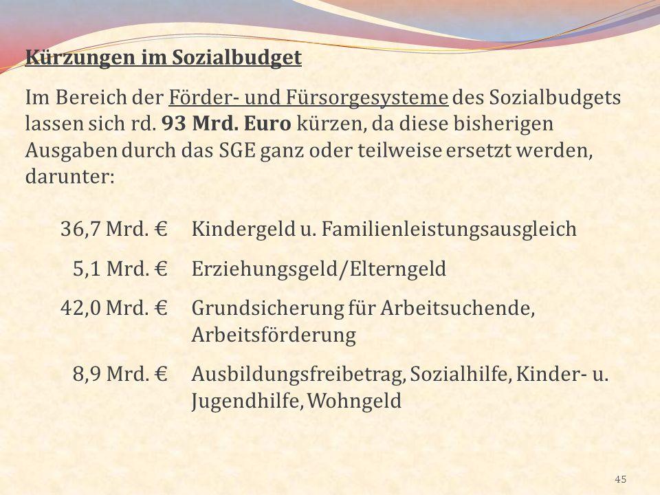 45 Kürzungen im Sozialbudget Im Bereich der Förder- und Fürsorgesysteme des Sozialbudgets lassen sich rd. 93 Mrd. Euro kürzen, da diese bisherigen Aus