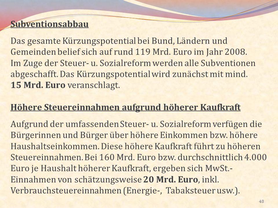 48 Subventionsabbau Das gesamte Kürzungspotential bei Bund, Ländern und Gemeinden belief sich auf rund 119 Mrd. Euro im Jahr 2008. Im Zuge der Steuer-