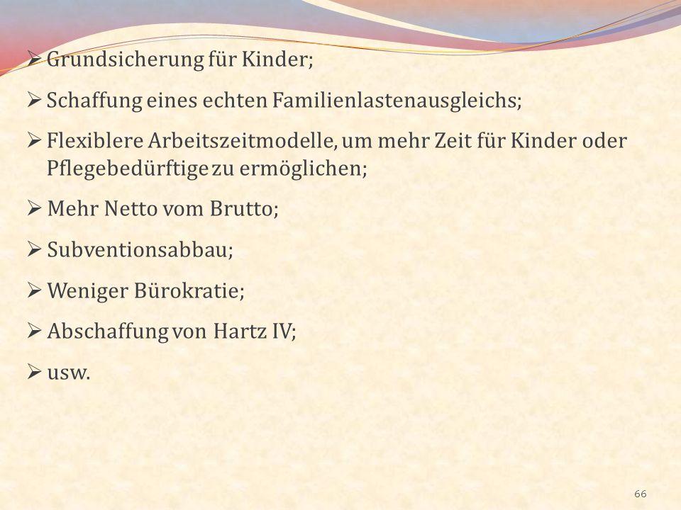 66 Grundsicherung für Kinder; Schaffung eines echten Familienlastenausgleichs; Flexiblere Arbeitszeitmodelle, um mehr Zeit für Kinder oder Pflegebedür