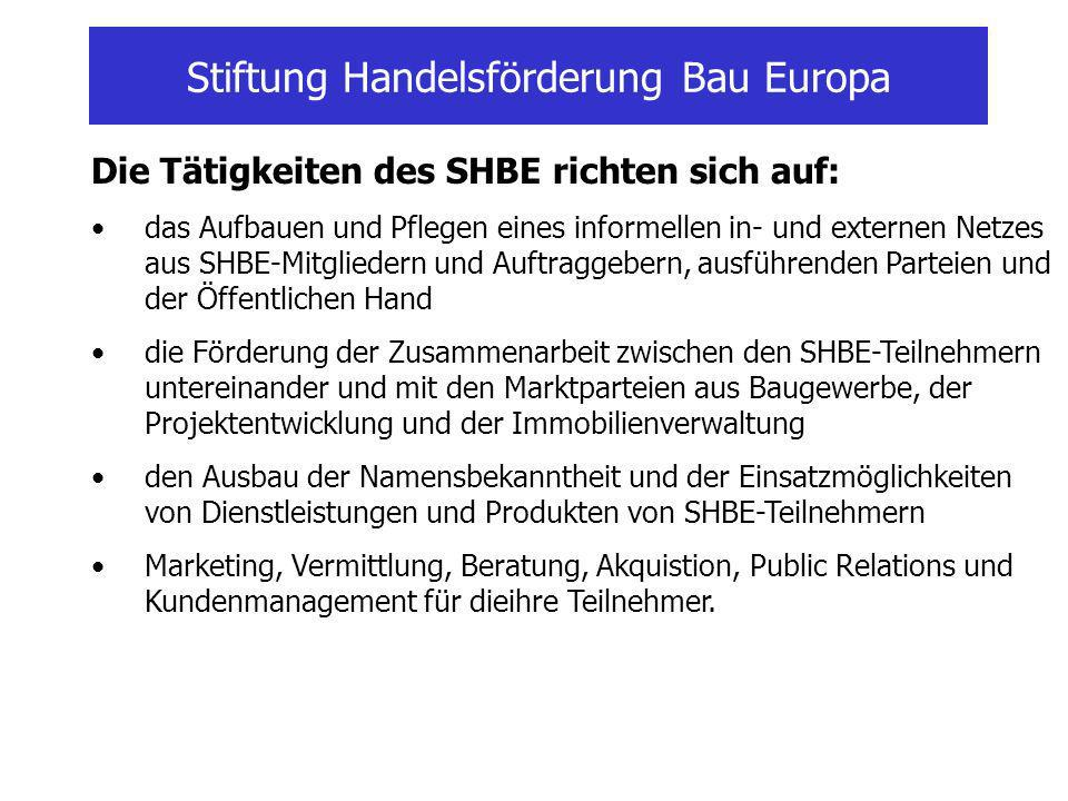 Stiftung Handelsförderung Bau Europa Die SHBE- Marketingaktivitäten sind zu untergliedern in: Allgemeine Marketingaktivitäten der Stiftung und in projektgebundene und marktorientierte Aktivitäten in den Initiativ- oder Arbeitskreisen.
