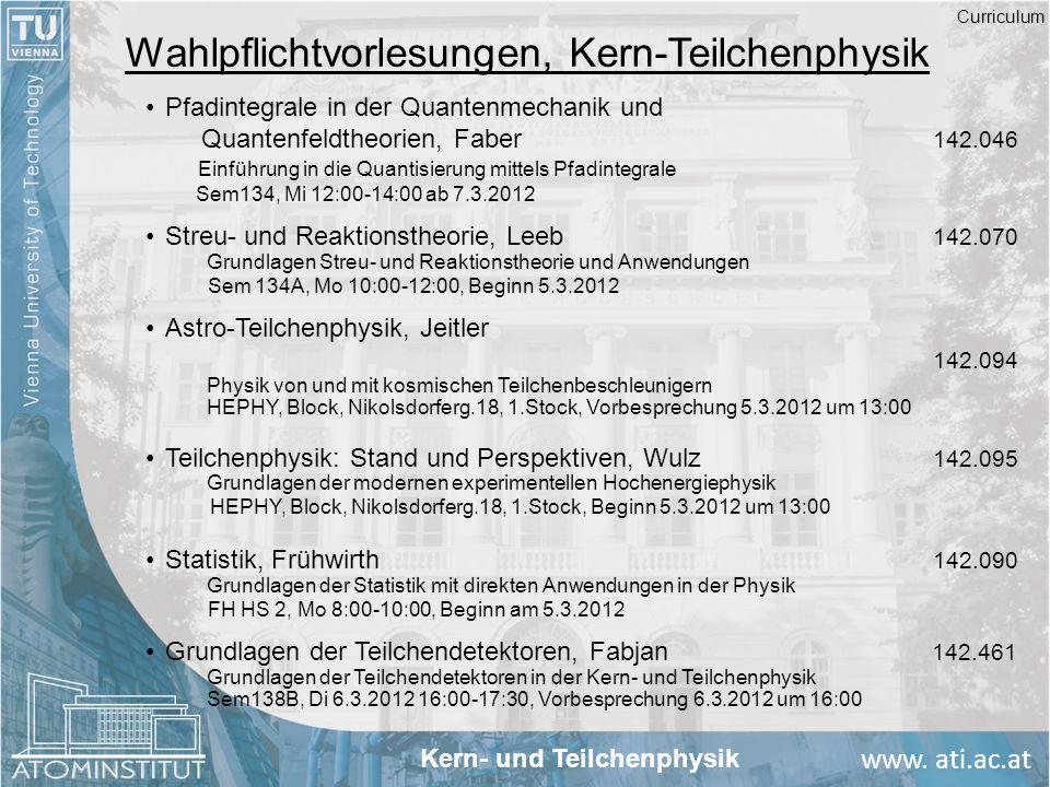 www. ati.ac.at Wahlpflichtvorlesungen, Kern-Teilchenphysik Pfadintegrale in der Quantenmechanik und Quantenfeldtheorien, Faber 142.046 Einführung in d