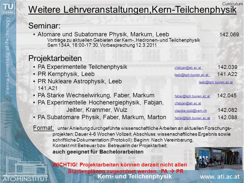 www. ati.ac.at Weitere Lehrveranstaltungen,Kern-Teilchenphysik Seminar: Atomare und Subatomare Physik, Markum, Leeb 142.069 Vorträge zu aktuellen Gebi