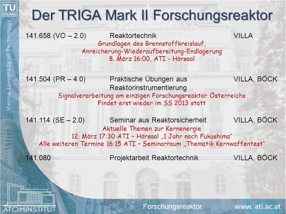 www. ati.ac.at 141.080Projektarbeit ReaktortechnikVILLA, BÖCK Der TRIGA Mark II Forschungsreaktor 141.504 (PR – 4.0) Praktische Übungen ausVILLA, BÖCK
