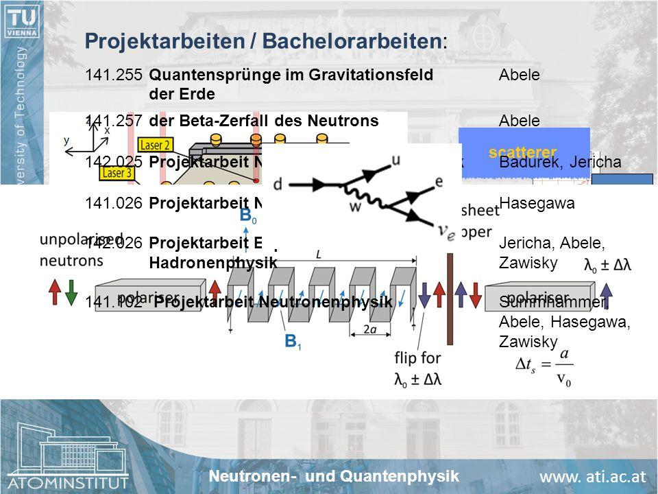 www. ati.ac.at scatterer neutron mirror UCN counter 141.026Projektarbeit NeutronenoptikHasegawa 142.026Projektarbeit ExperimentelleJericha, Abele, Had