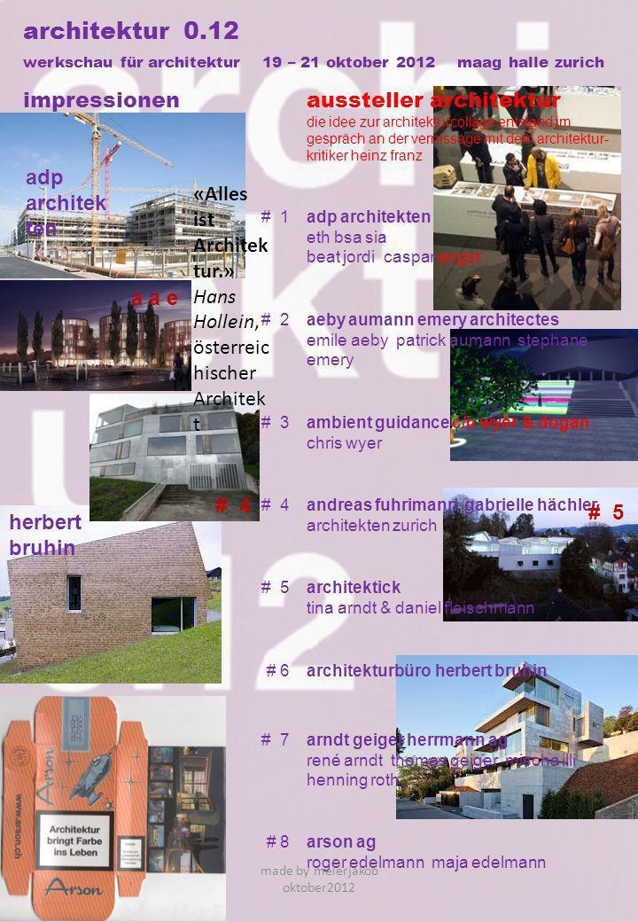 architektur 0.12 werkschau für architektur 19 – 21 oktober 2012 maag halle zurich impressionenaussteller architektur die idee zur architekturcollage e