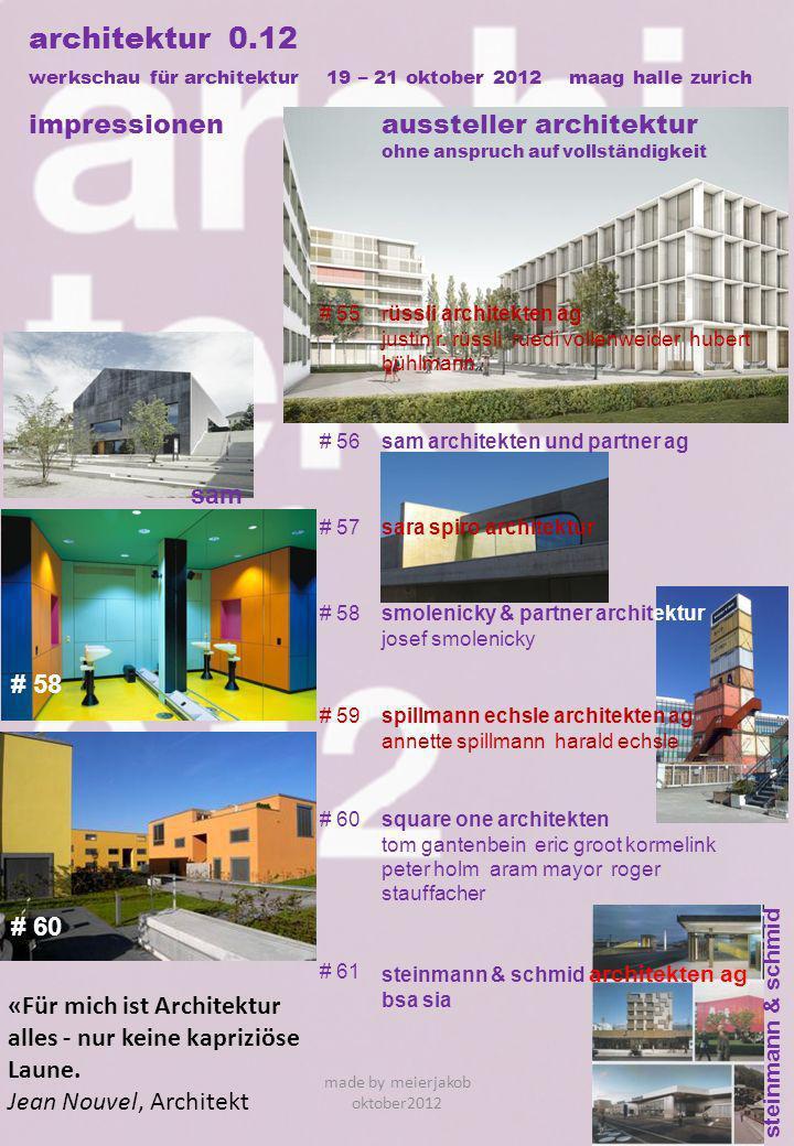 steinmann & schmid architektur 0.12 werkschau für architektur 19 – 21 oktober 2012 maag halle zurich impressionenaussteller architektur ohne anspruch