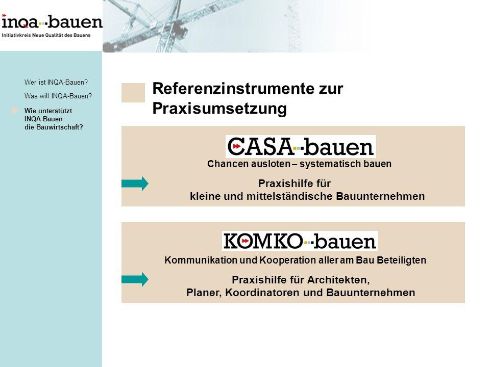 Referenzinstrumente zur Praxisumsetzung Was will INQA-Bauen.