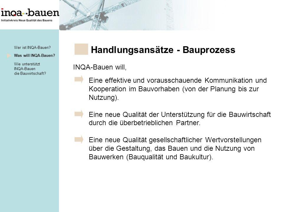 INQA-Bauen will, Eine effektive und vorausschauende Kommunikation und Kooperation im Bauvorhaben (von der Planung bis zur Nutzung).