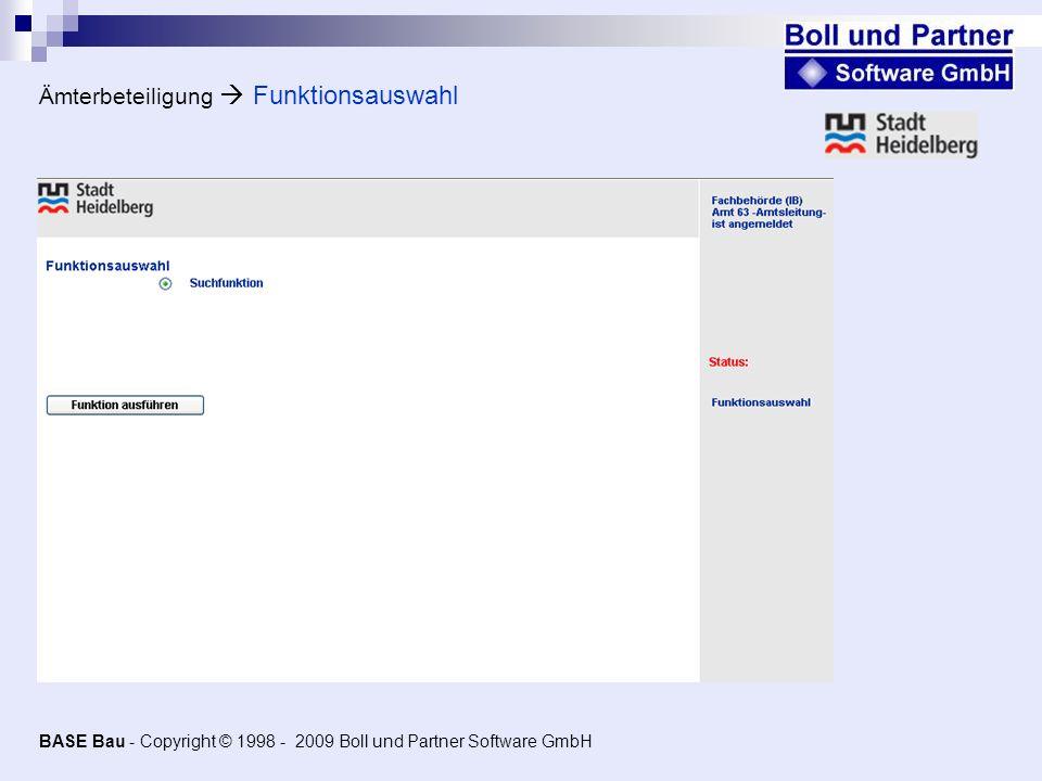 Ämterbeteiligung Funktionsauswahl BASE Bau - Copyright © 1998 - 2009 Boll und Partner Software GmbH