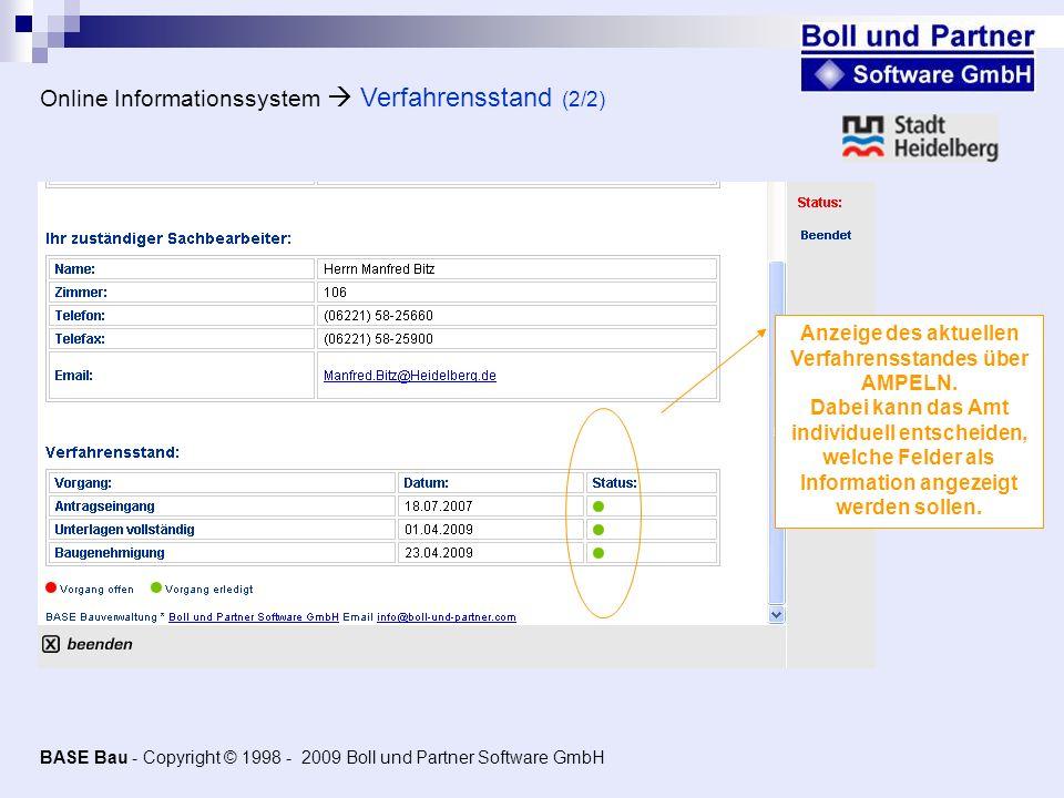 Online Informationssystem Verfahrensstand (2/2) Anzeige des aktuellen Verfahrensstandes über AMPELN. Dabei kann das Amt individuell entscheiden, welch