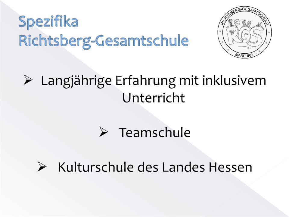 Langjährige Erfahrung mit inklusivem Unterricht Teamschule Kulturschule des Landes Hessen