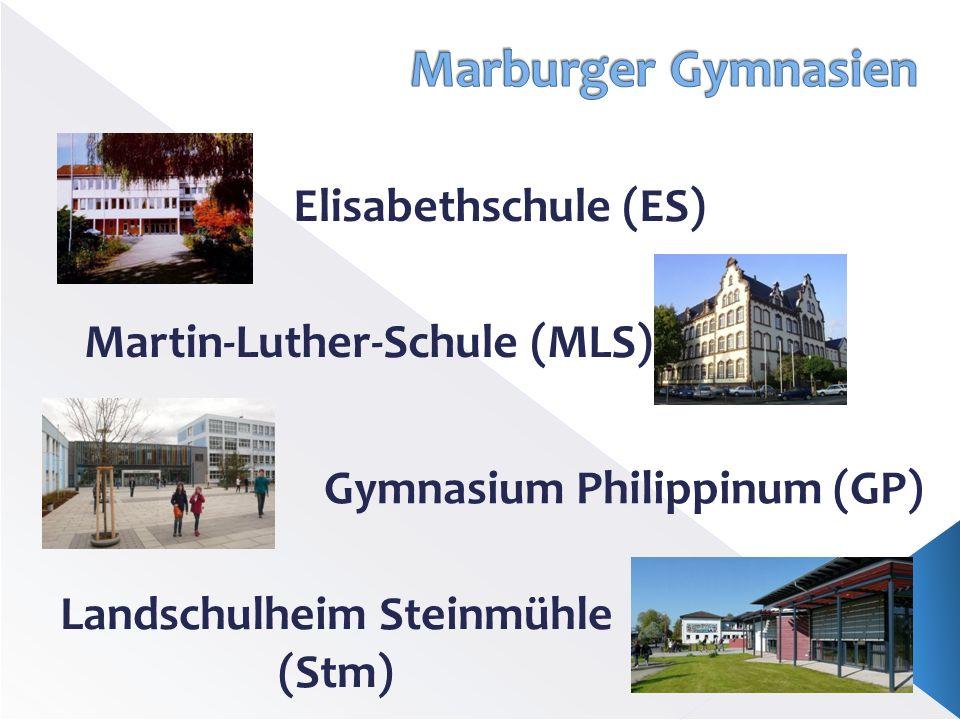 Elisabethschule (ES) Martin-Luther-Schule (MLS) Gymnasium Philippinum (GP) Landschulheim Steinmühle (Stm)