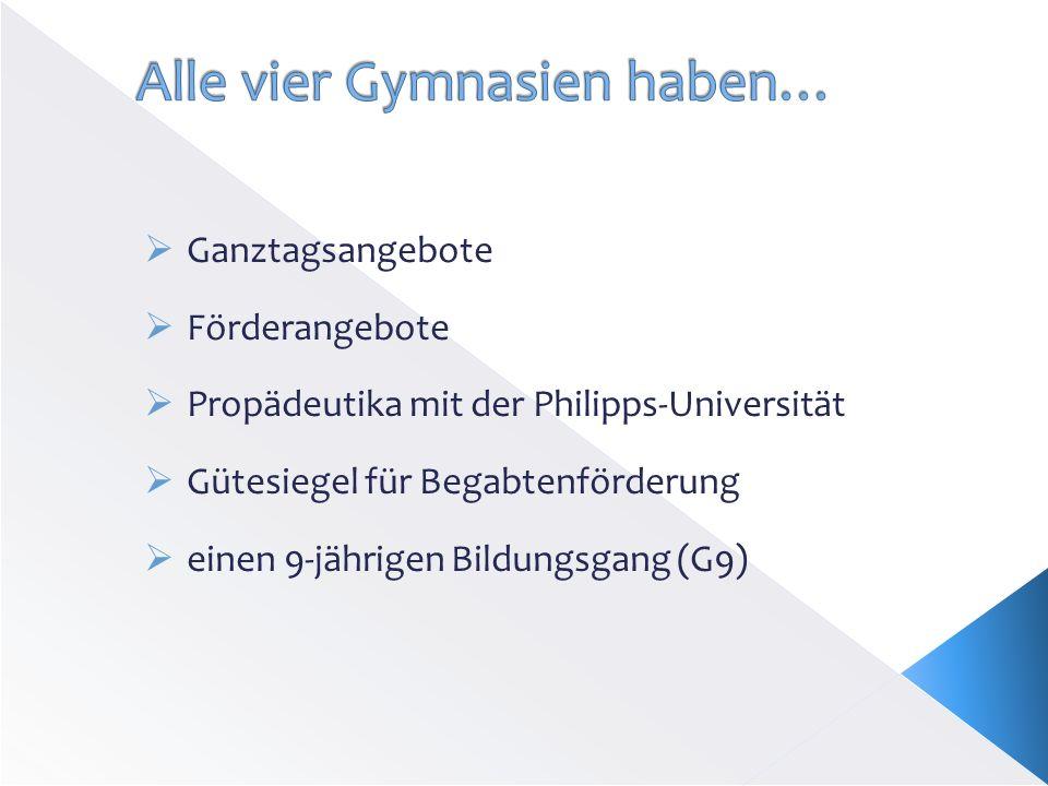 Ganztagsangebote Förderangebote Propädeutika mit der Philipps-Universität Gütesiegel für Begabtenförderung einen 9-jährigen Bildungsgang (G9)