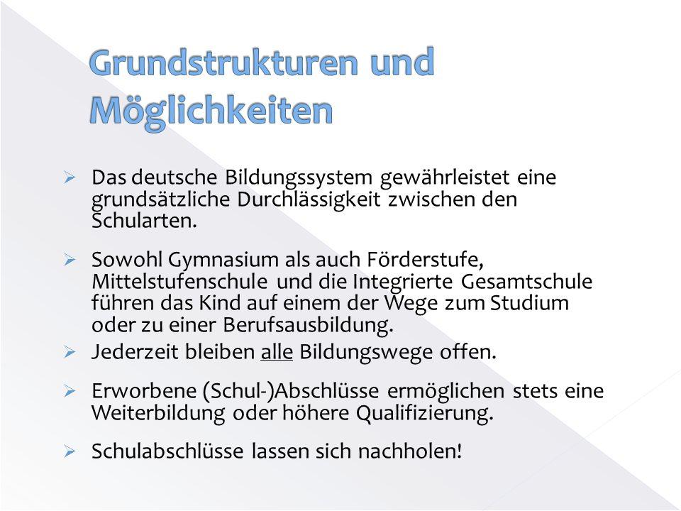 Das deutsche Bildungssystem gewährleistet eine grundsätzliche Durchlässigkeit zwischen den Schularten. Sowohl Gymnasium als auch Förderstufe, Mittelst