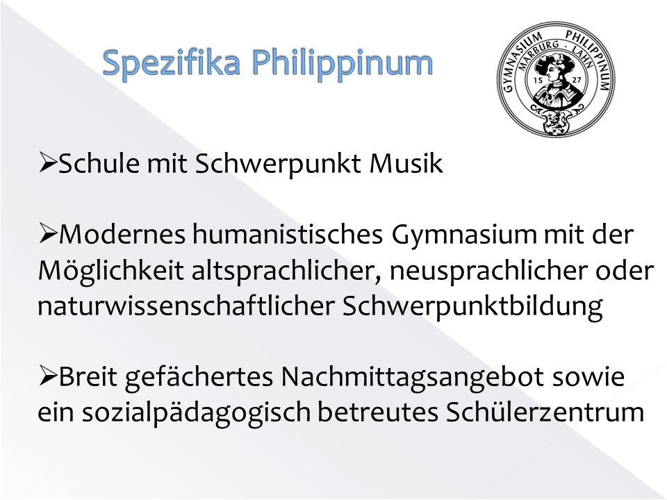 Schule mit Schwerpunkt Musik Modernes humanistisches Gymnasium mit der Möglichkeit altsprachlicher, neusprachlicher oder naturwissenschaftlicher Schwe
