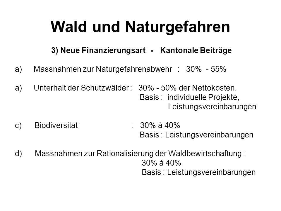 Wald und Naturgefahren 3) Neue Finanzierungsart - Kantonale Beiträge a)Massnahmen zur Naturgefahrenabwehr : 30% - 55% a)Unterhalt der Schutzwälder : 3