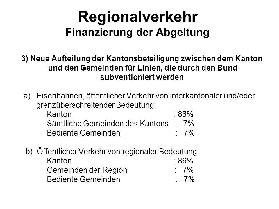 Regionalverkehr Finanzierung der Abgeltung 3) Neue Aufteilung der Kantonsbeteiligung zwischen dem Kanton und den Gemeinden für Linien, die durch den B