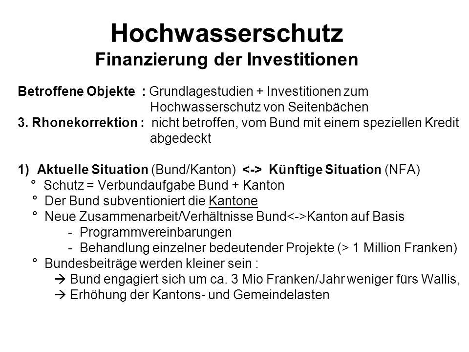 Hochwasserschutz Finanzierung der Investitionen Betroffene Objekte : Grundlagestudien + Investitionen zum Hochwasserschutz von Seitenbächen 3. Rhoneko