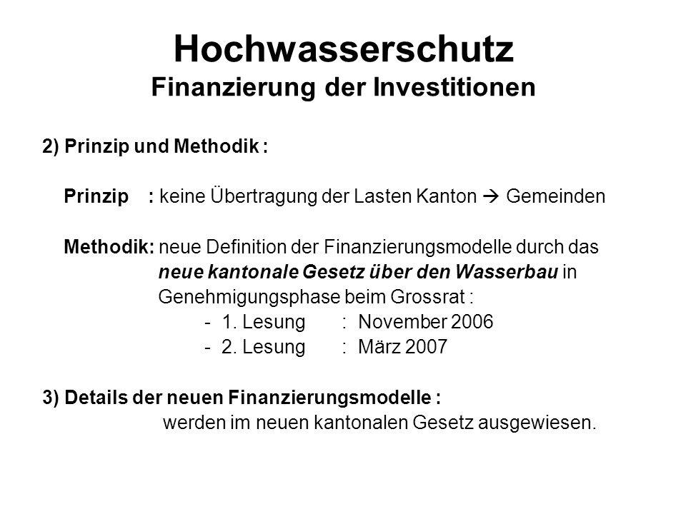 Hochwasserschutz Finanzierung der Investitionen 2) Prinzip und Methodik : Prinzip : keine Übertragung der Lasten Kanton Gemeinden Methodik: neue Defin