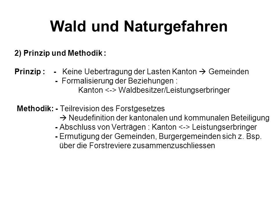Wald und Naturgefahren 2) Prinzip und Methodik : Prinzip : - Keine Uebertragung der Lasten Kanton Gemeinden - Formalisierung der Beziehungen : Kanton