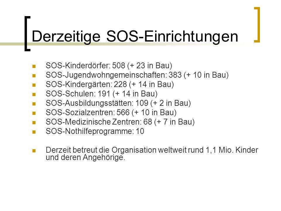 Derzeitige SOS-Einrichtungen SOS-Kinderdörfer: 508 (+ 23 in Bau) SOS-Jugendwohngemeinschaften: 383 (+ 10 in Bau) SOS-Kindergärten: 228 (+ 14 in Bau) S