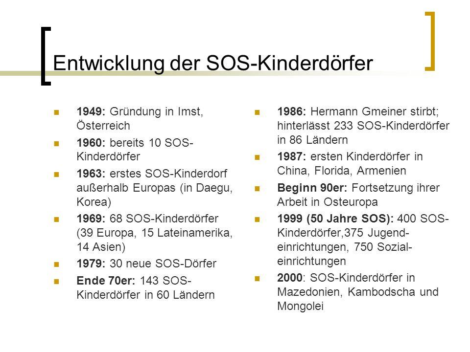 Entwicklung der SOS-Kinderdörfer 1949: Gründung in Imst, Österreich 1960: bereits 10 SOS- Kinderdörfer 1963: erstes SOS-Kinderdorf außerhalb Europas (