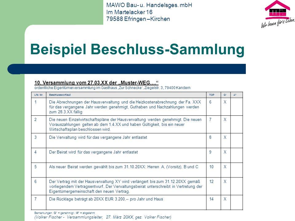10.Versammlung vom 27.03.XX der Muster-WEG….