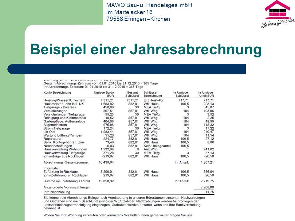 Beispiel einer Jahresabrechnung MAWO Bau- u.Handelsges.