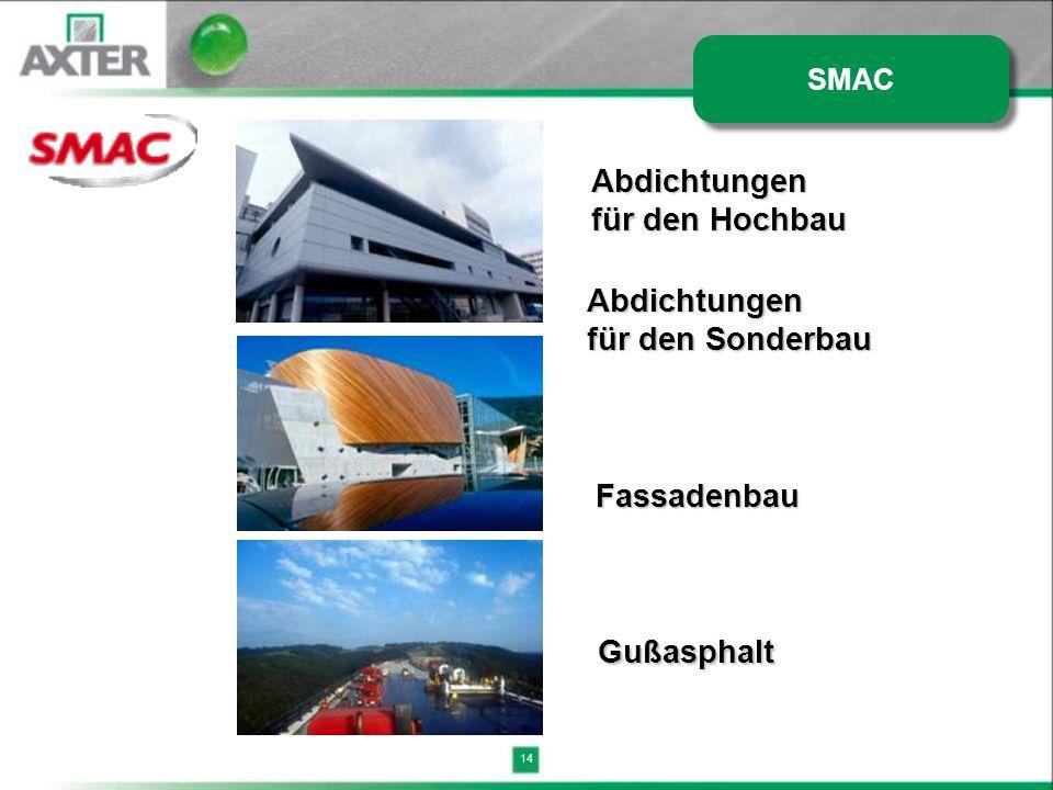 14 Abdichtungen für den Hochbau Abdichtungen für den Sonderbau Fassadenbau Gußasphalt SMAC