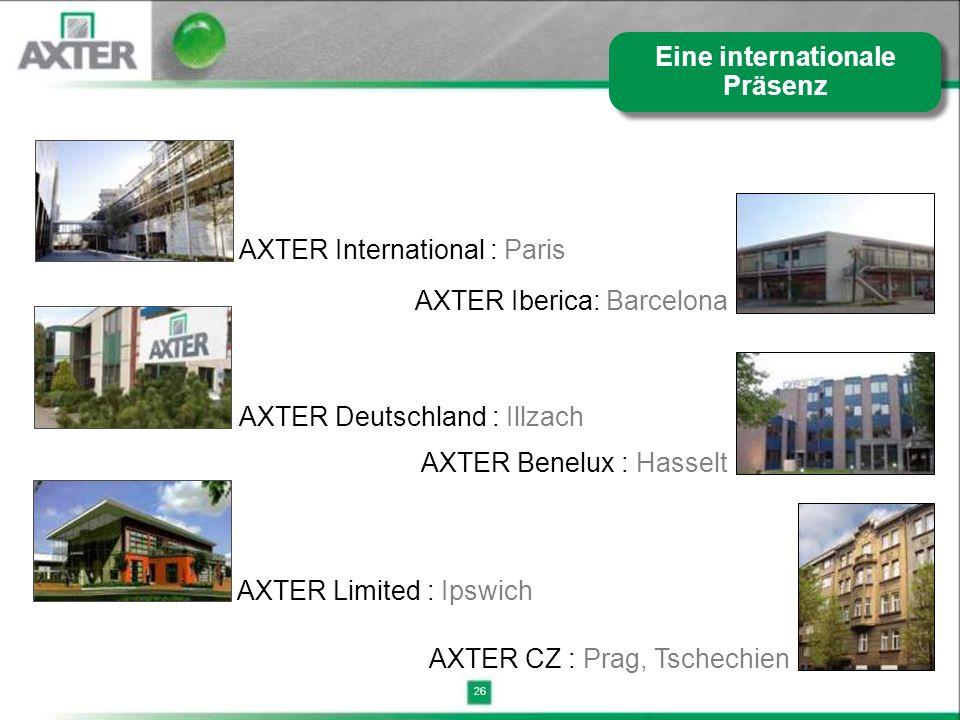 26 AXTER International : Paris AXTER Iberica: Barcelona AXTER Deutschland : Illzach AXTER Limited : Ipswich AXTER Benelux : Hasselt AXTER CZ : Prag, T