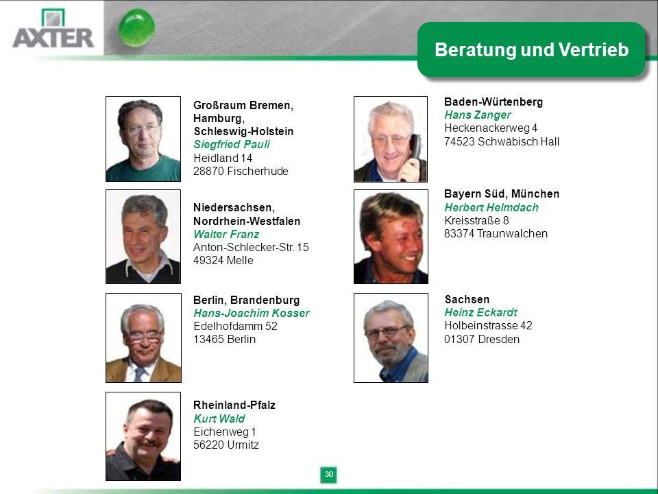 30 Großraum Bremen, Hamburg, Schleswig-Holstein Siegfried Pauli Heidland 14 28870 Fischerhude Niedersachsen, Nordrhein-Westfalen Walter Franz Anton-Sc