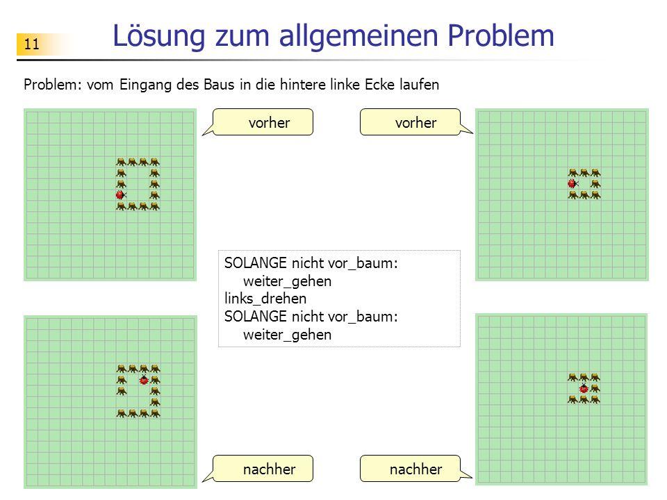 11 Lösung zum allgemeinen Problem Problem: vom Eingang des Baus in die hintere linke Ecke laufen vorher nachher vorher nachher SOLANGE nicht vor_baum: