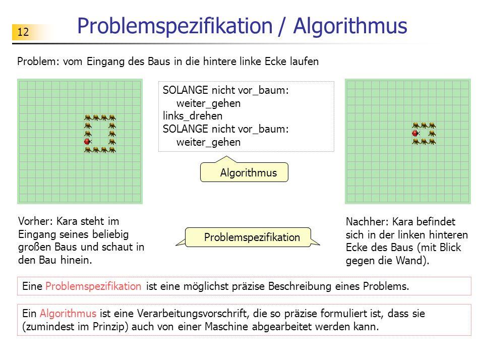 12 Problemspezifikation / Algorithmus Problem: vom Eingang des Baus in die hintere linke Ecke laufen Problemspezifikation Algorithmus SOLANGE nicht vo