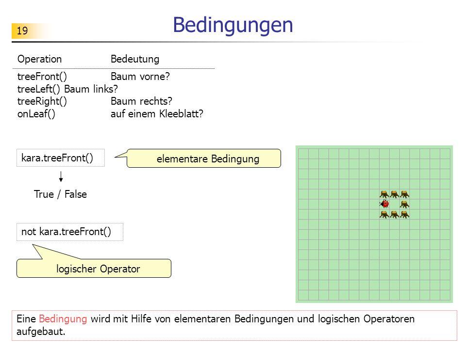19 Bedingungen Eine Bedingung wird mit Hilfe von elementaren Bedingungen und logischen Operatoren aufgebaut. elementare Bedingung kara.treeFront() Tru