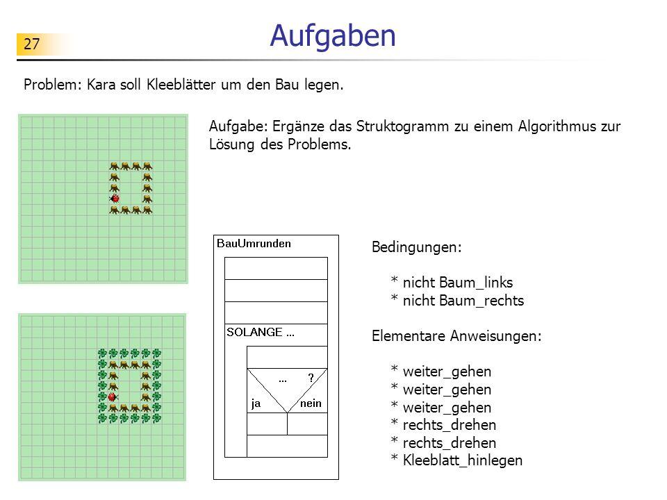 27 Aufgaben Problem: Kara soll Kleeblätter um den Bau legen. Aufgabe: Ergänze das Struktogramm zu einem Algorithmus zur Lösung des Problems. Bedingung