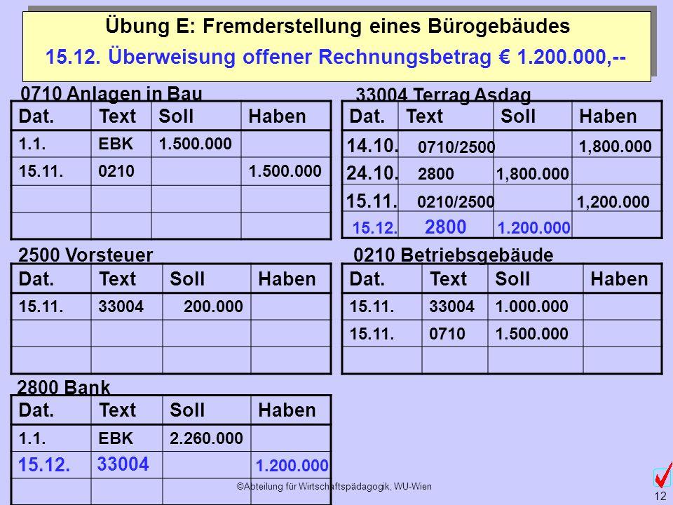 ©Abteilung für Wirtschaftspädagogik, WU-Wien 12 Übung E: Fremderstellung eines Bürogebäudes 0710 Anlagen in Bau 2500 Vorsteuer 33004 Terrag Asdag 0210