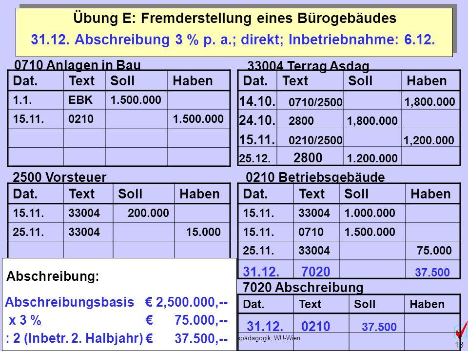 ©Abteilung für Wirtschaftspädagogik, WU-Wien 13 Übung E: Fremderstellung eines Bürogebäudes 0710 Anlagen in Bau 2500 Vorsteuer 33004 Terrag Asdag 0210