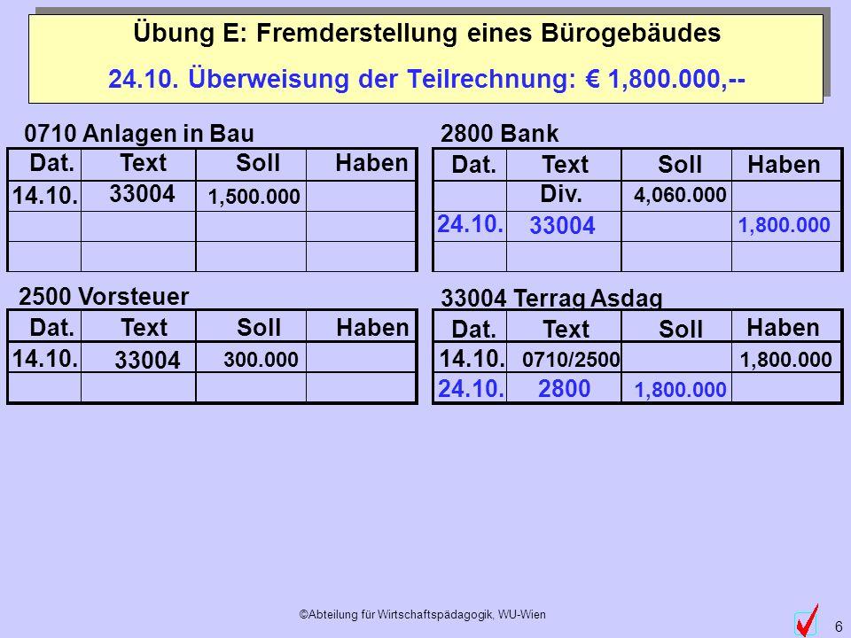 ©Abteilung für Wirtschaftspädagogik, WU-Wien 6 Dat.TextSollHaben Dat.TextSollHaben Dat.TextSollHaben Dat.TextSoll Haben 14.10. 300.000 0710 Anlagen in