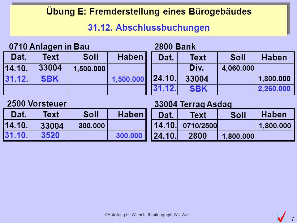 ©Abteilung für Wirtschaftspädagogik, WU-Wien 8 Übung E: Fremderstellung eines Bürogebäudes über den Bilanzstichtag Buchungen im Folgejahr (Kap.