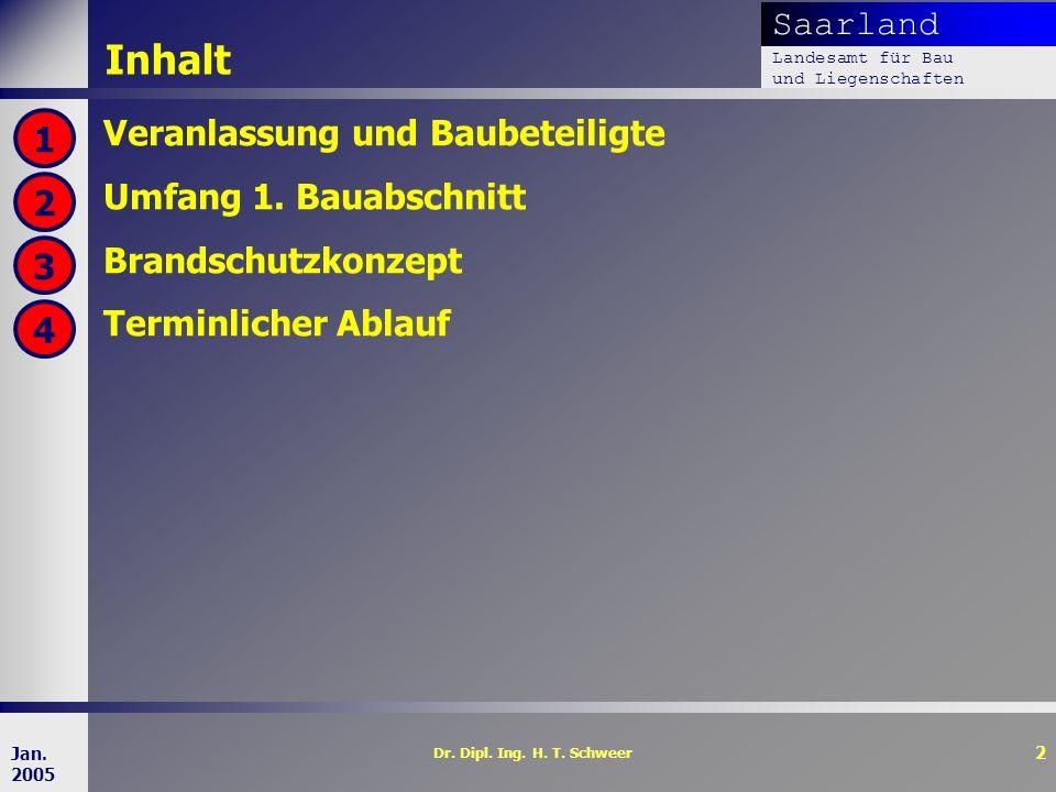 Saarland Landesamt für Bau und Liegenschaften Dr. Dipl. Ing. H. T. Schweer 2 Jan. 2005 Inhalt Veranlassung und Baubeteiligte Umfang 1. Bauabschnitt Br