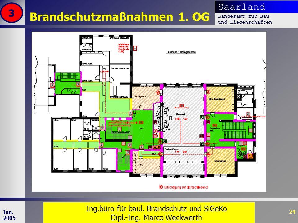 Saarland Landesamt für Bau und Liegenschaften Dr. Dipl. Ing. H. T. Schweer 24 Jan. 2005 Brandschutzmaßnahmen 1. OG 3 Ing.büro für baul. Brandschutz un