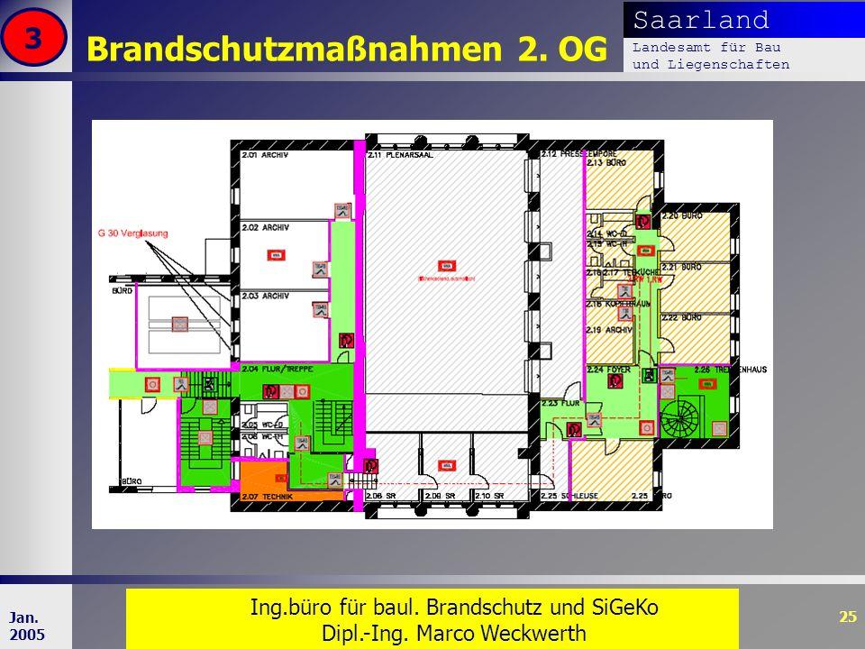 Saarland Landesamt für Bau und Liegenschaften Dr. Dipl. Ing. H. T. Schweer 25 Jan. 2005 Brandschutzmaßnahmen 2. OG 3 Ing.büro für baul. Brandschutz un