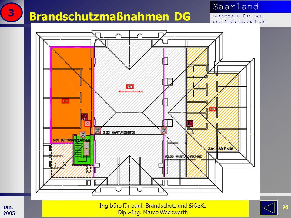 Saarland Landesamt für Bau und Liegenschaften Dr. Dipl. Ing. H. T. Schweer 26 Jan. 2005 Brandschutzmaßnahmen DG 3 Ing.büro für baul. Brandschutz und S