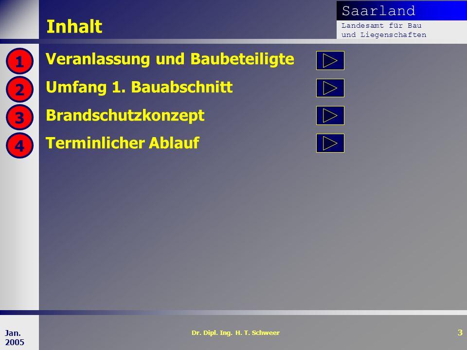Saarland Landesamt für Bau und Liegenschaften Dr. Dipl. Ing. H. T. Schweer 3 Jan. 2005 Inhalt Veranlassung und Baubeteiligte Umfang 1. Bauabschnitt Br