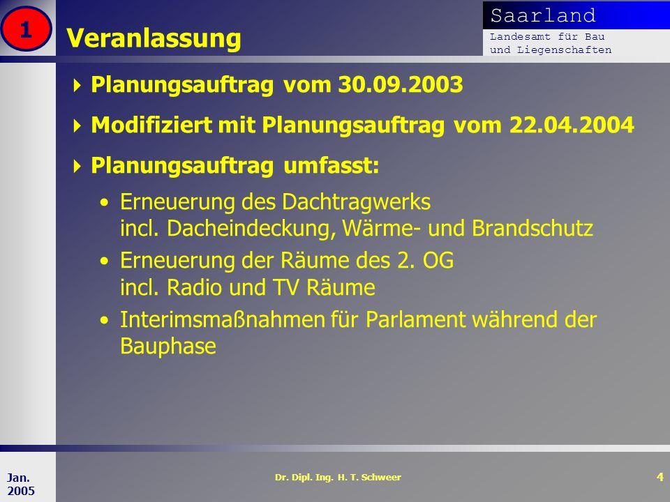 Saarland Landesamt für Bau und Liegenschaften Dr. Dipl. Ing. H. T. Schweer 4 Jan. 2005 Veranlassung Planungsauftrag vom 30.09.2003 Modifiziert mit Pla