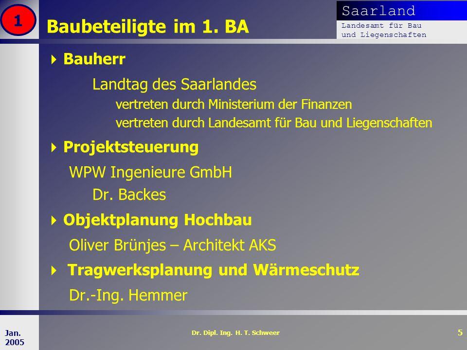 Saarland Landesamt für Bau und Liegenschaften Dr. Dipl. Ing. H. T. Schweer 5 Jan. 2005 Baubeteiligte im 1. BA Bauherr Landtag des Saarlandes vertreten