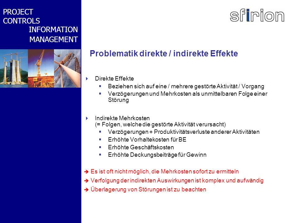NACHRTRAGS- MANAGEMENT BMW-WELT PROJECT CONTROLS INFORMATION MANAGEMENT Problematik direkte / indirekte Effekte Direkte Effekte Beziehen sich auf eine