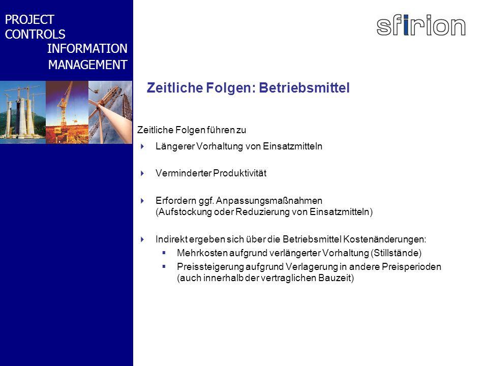 NACHRTRAGS- MANAGEMENT BMW-WELT PROJECT CONTROLS INFORMATION MANAGEMENT Zeitliche Folgen: Betriebsmittel Zeitliche Folgen führen zu Längerer Vorhaltun